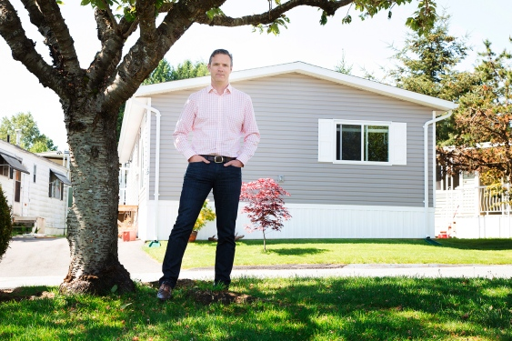 "Lachlan MacLean of Parkbridge Lifestyle Communities, a company attempting to erase the ""trailer park"" stigma of its homes in Surrey. (Photo: KEVIN HILL)"