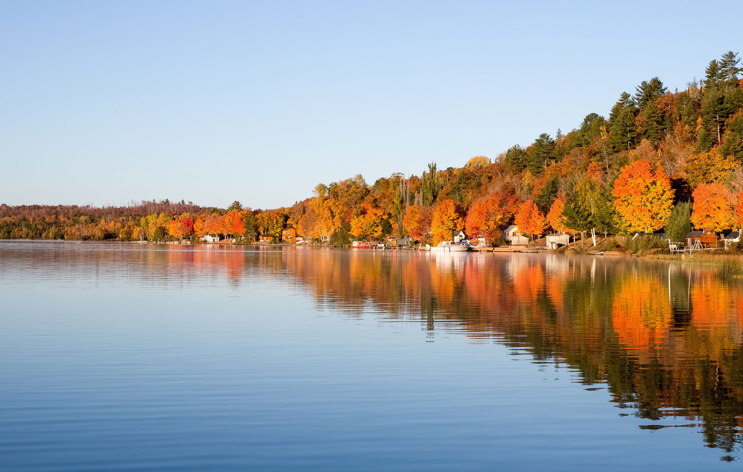 Fall colours on a beautiful lake in the Kawarthas